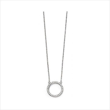 Open Disk Silver Pave Necklace