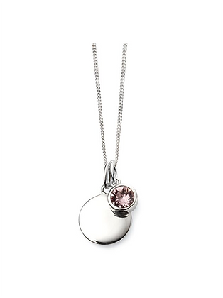 Swarovski Crystal and Silver Disk Necklace