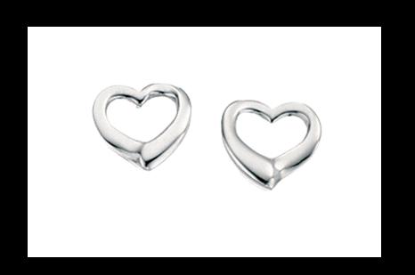 Silver Open Heart Stud Earring