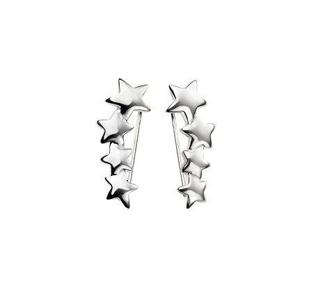 Graduated star climber earrings