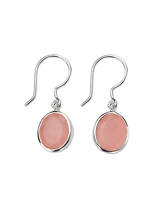 Rose Jade Silver Drop Earring