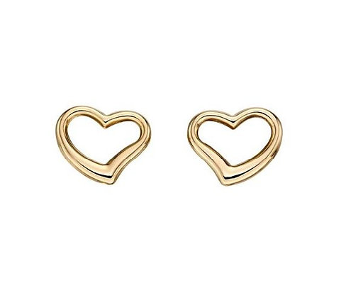Gold Open Heart Stud Earring