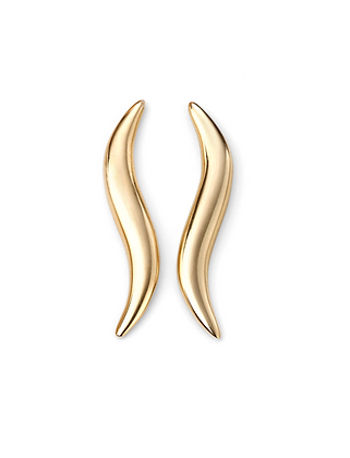 Gold Curved Climber Earring
