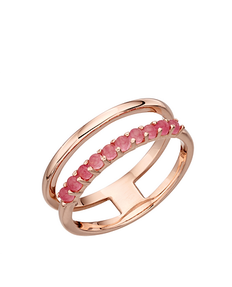 Double Bar Rose Gold and Pink Jade Ring