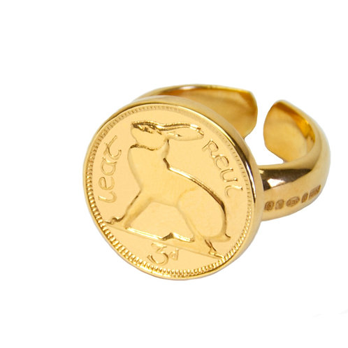 KMMxDublin Yellow Gold Plated 3d ring - Adjustable