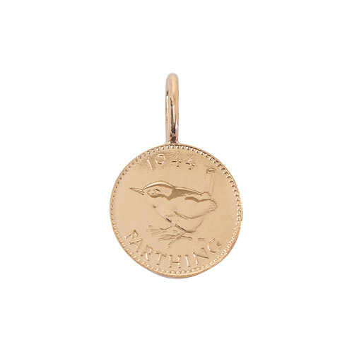 English Farthing Coin Charm Rose Gold