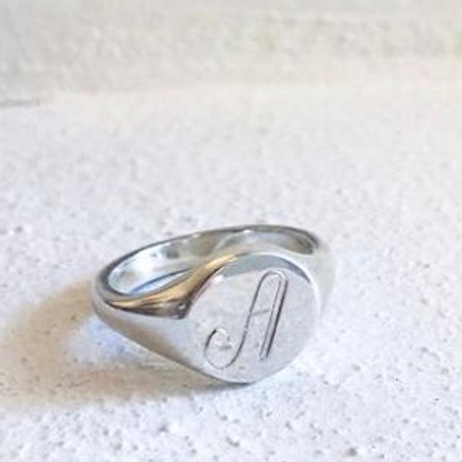 Silver Signet Ring Initial A - size M