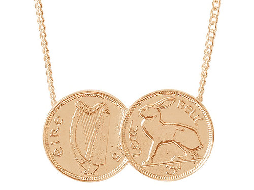 Designer jewellery uk katie mullally double irish 3d coin double irish 3d coin pendant rose gold mozeypictures Images