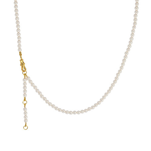 Faux Pearl Yellow Gold Plated Chain