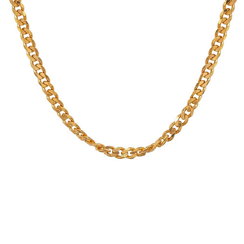 Yellow Gold Plated Chunky Curb 18 inch Chain