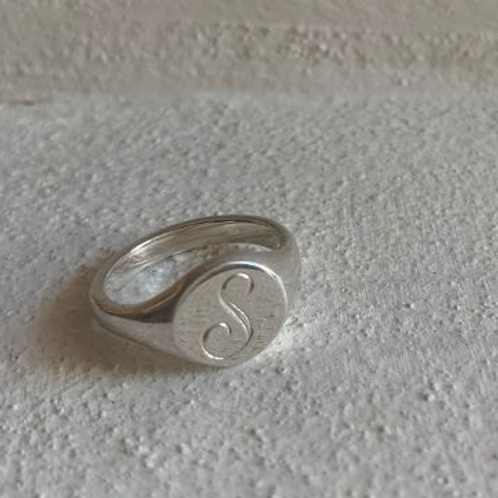 Silver Signet Ring Initial S - size M