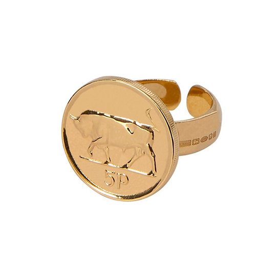 Gold Plated 5p ring - Adjustable