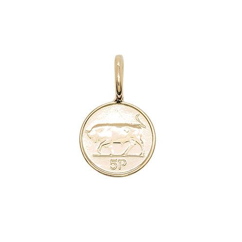 Irish 5p Coin Charm Rose Gold