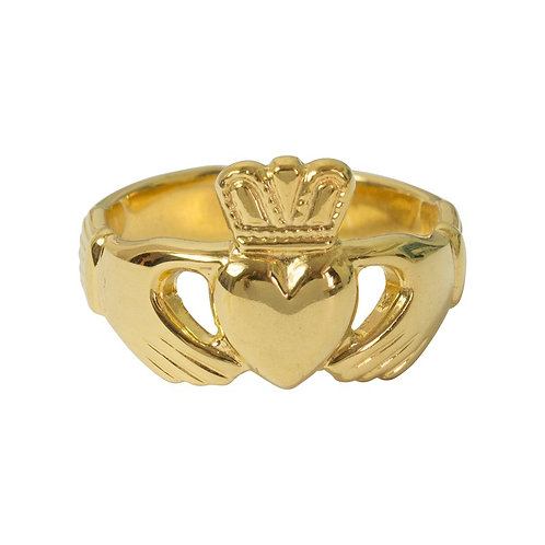 Yellow Gold Plated Claddagh Ring - Adjustable