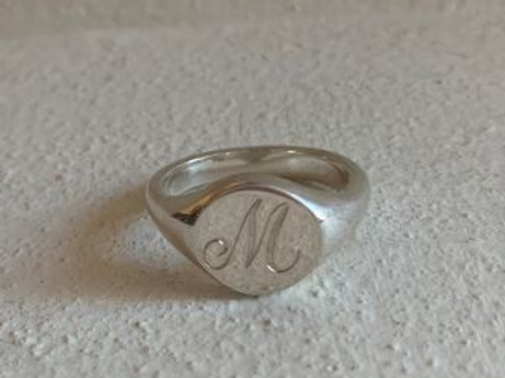 Silver Signet Ring Initial M - size M