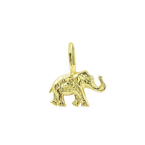 Yellow Gold Plated Elephant Charm With Tusks