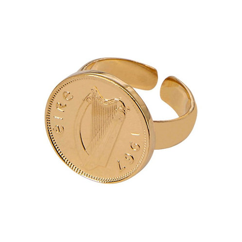 Gold Plated Irish Harp ring - Adjustable