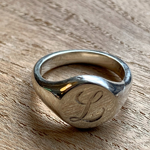 Silver Signet Ring Initial L - size M