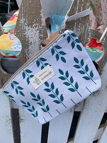 Small Canvas Hygiene/Makeup Bag - Leaf Print