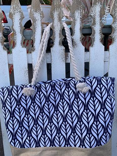 Canvas Tote Bag - Blue Leaf Print