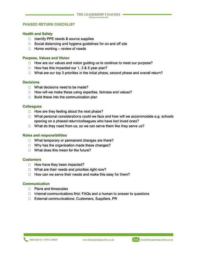 phased return checklist