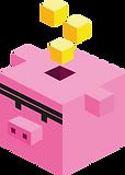 cerdo cubo con cubos de color amarillo