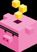 cochon Cube avec des cubes jaunes