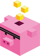 Cube pig with yellow cubes