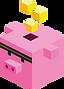 黄色のキューブとキューブの豚