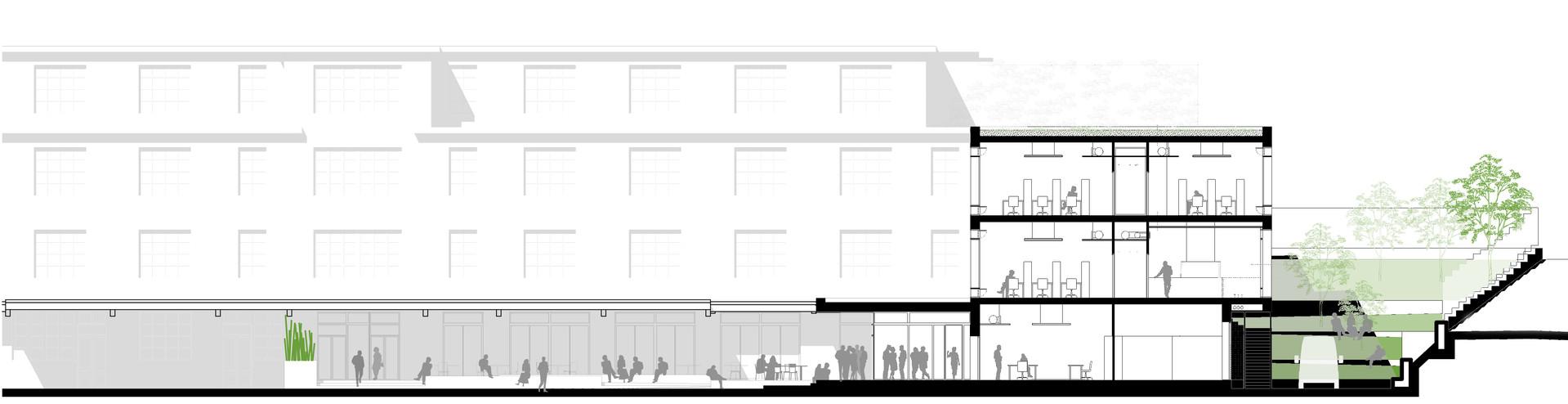 Nouveau bâtiment et son rapport à la pente