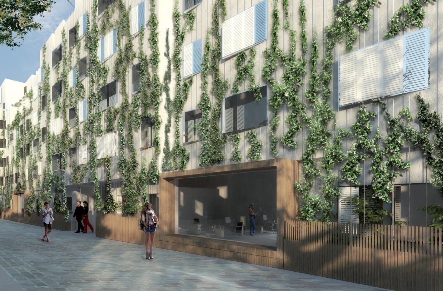 Végétalisation des façades Paris Habitat sur la place Salamandre, @Frédéric Bernard Architecture