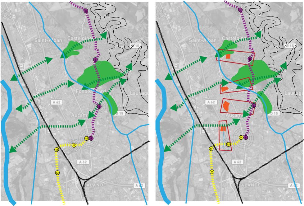 Replacer la nature au coeur de la ville, Toulouse doit une large part de sa qualité de vie à la présence de l'eau fondée dans ses faubourgs sur un système sophistiqué d'écoulement des eaux naturelles lié à l'activité agricole et maraîchère. La réapparition de ce milieu aquatique passe par la préservation des espaces naturels, ce qui requiert une densification bâtie de ses franges combinée à un remodelage des quartiers existants. La recomposition du quartier s'ordonne ainsi autour du cours d'eau remis à jour traité en coulée verte, au long duquel, les jardins, pôles d'habitat, places publiques et pôles de transport s'articulent comme autant de séquences urbaines hiérarchisées tant par leur configuration architecturale et paysagère que par l'importance de leur usage, allant du collectif au particulier.