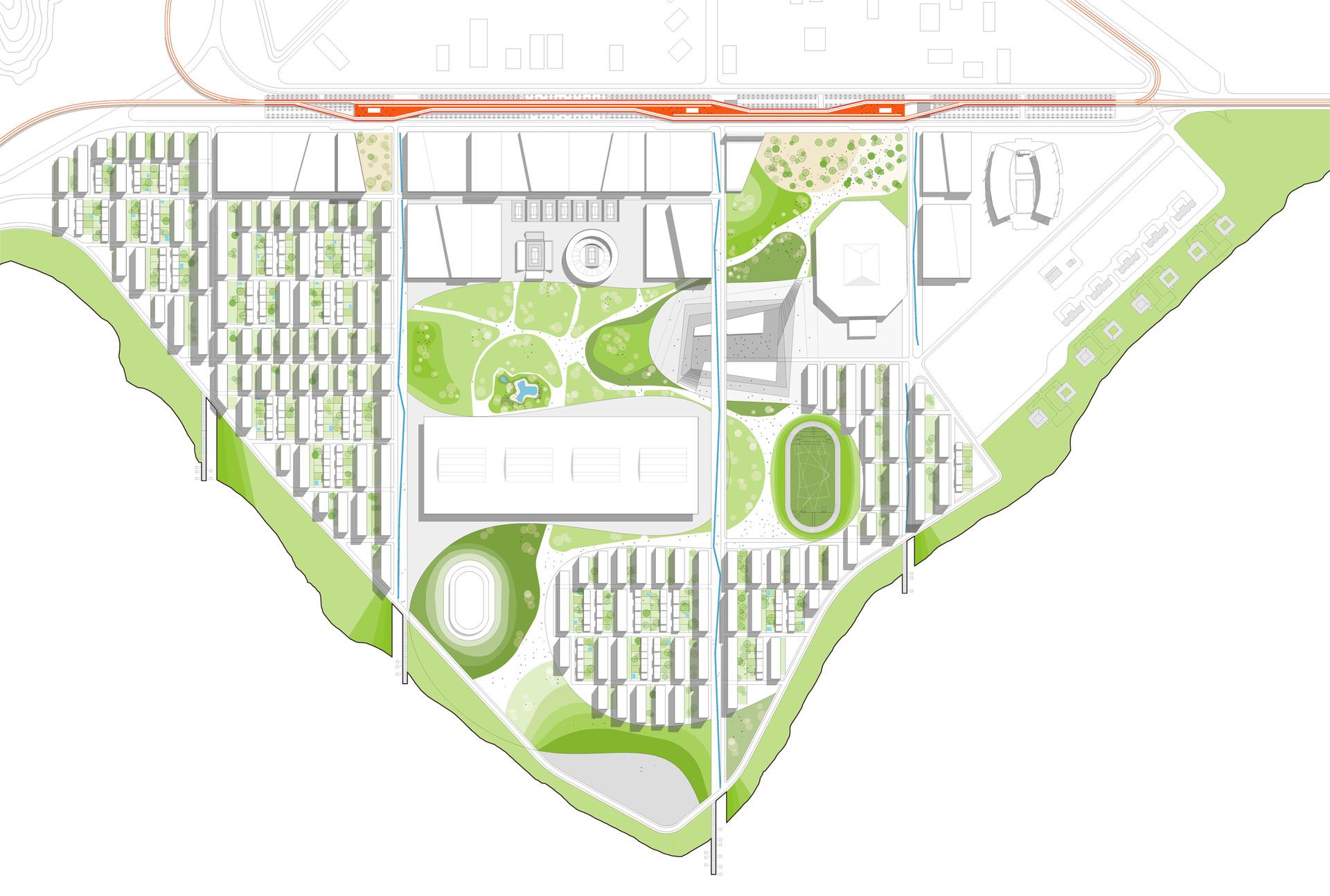 Plan Masse de la gare multi-modale au coeur du village Olympique.