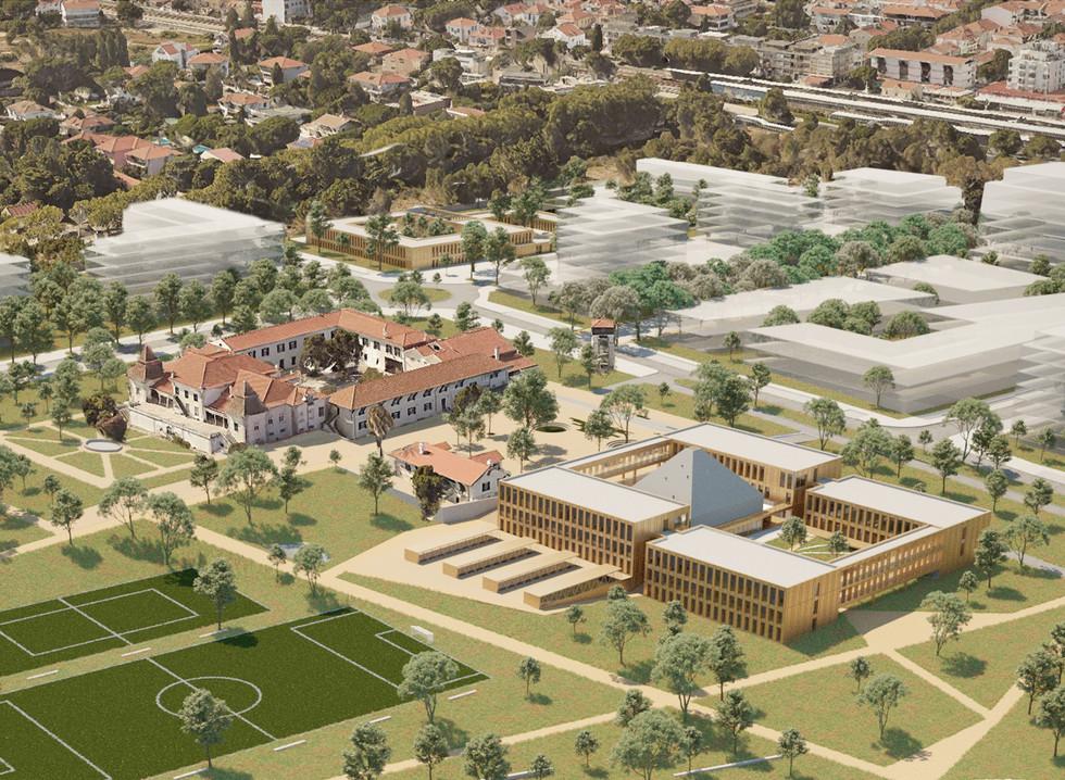 Zoom sur l'extention à l'est du bâtiment scolaire original