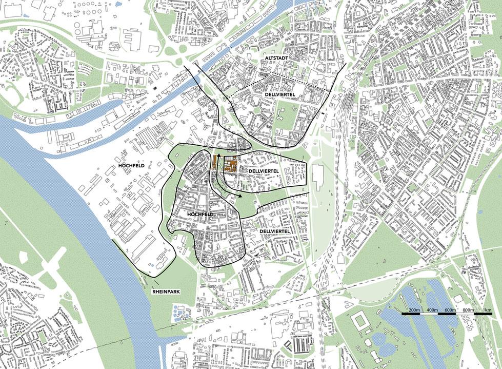 Plan de situation dans la Ville de Duisburg.