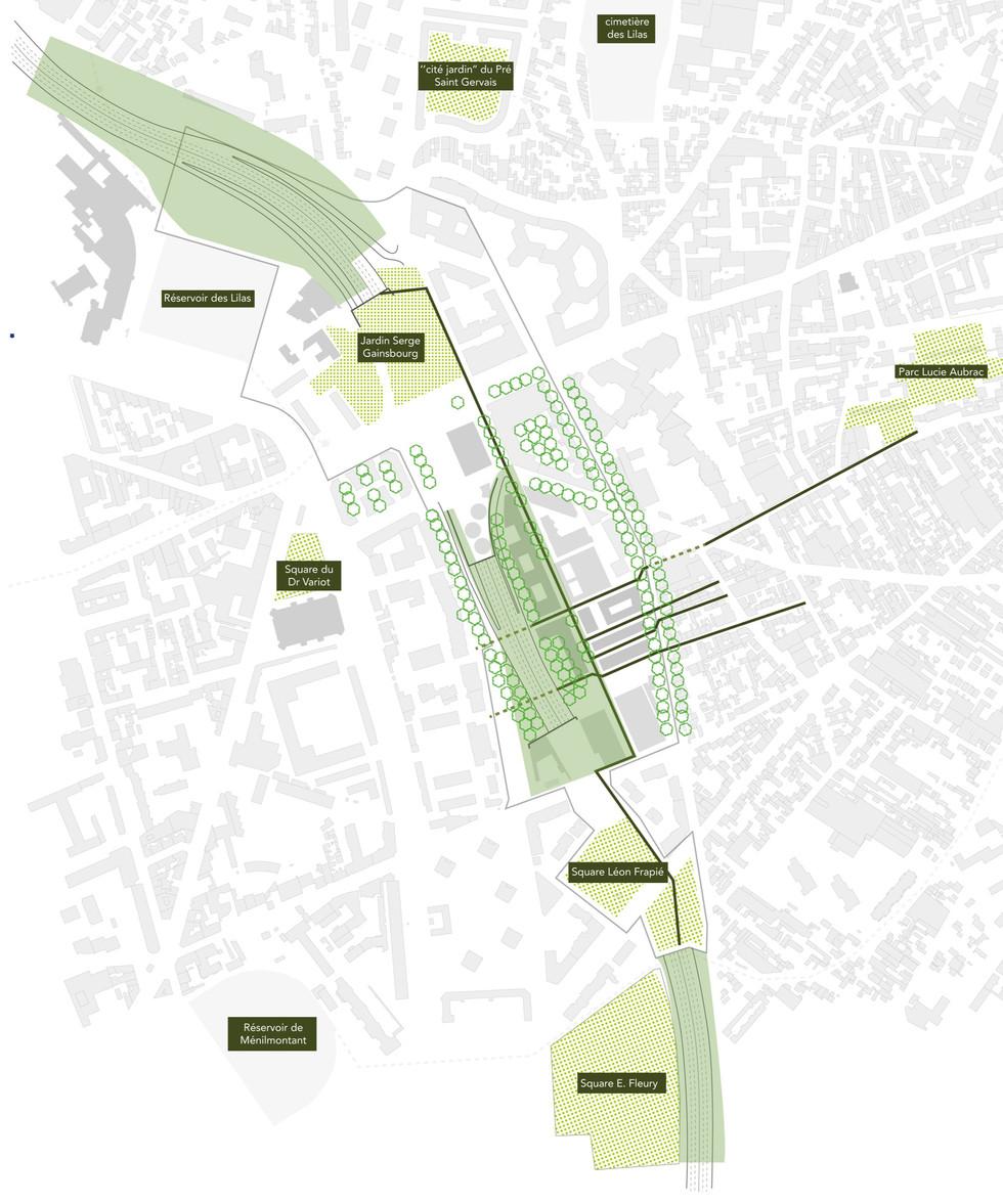Trame végétale de la ZAC des Lilas, du secteur Paul Meurice et la structure végétale de la ceinture verte du plateau de Romainville