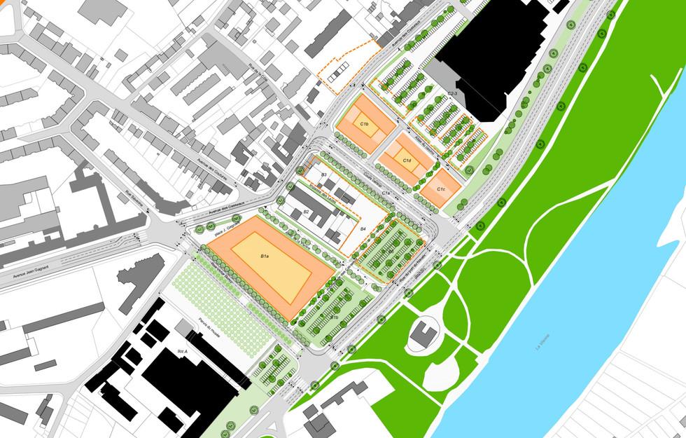 Plan masse du secteur d'aménagement et les berges de la Vienne
