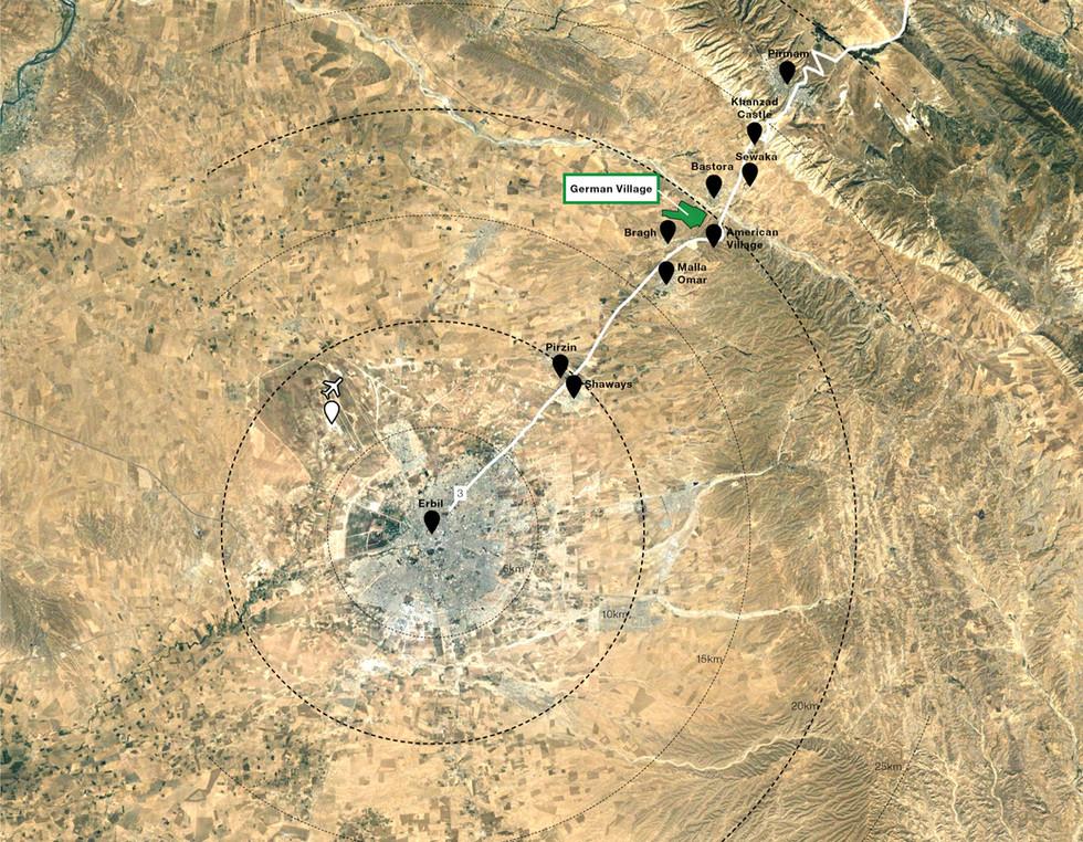 Implantation du village en autonomie a 20km d'Erbil sur les hauteurs de la rivière Basturah Chay