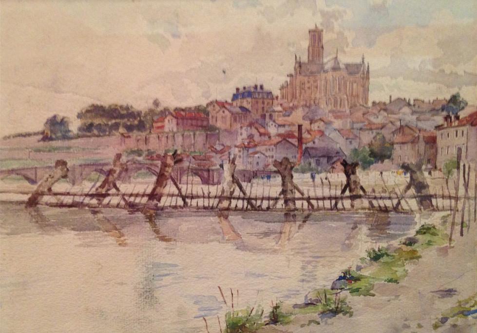 Le port du Naveix sur le site de Casseaux à Limoges. Peinture de @Charles Bichet