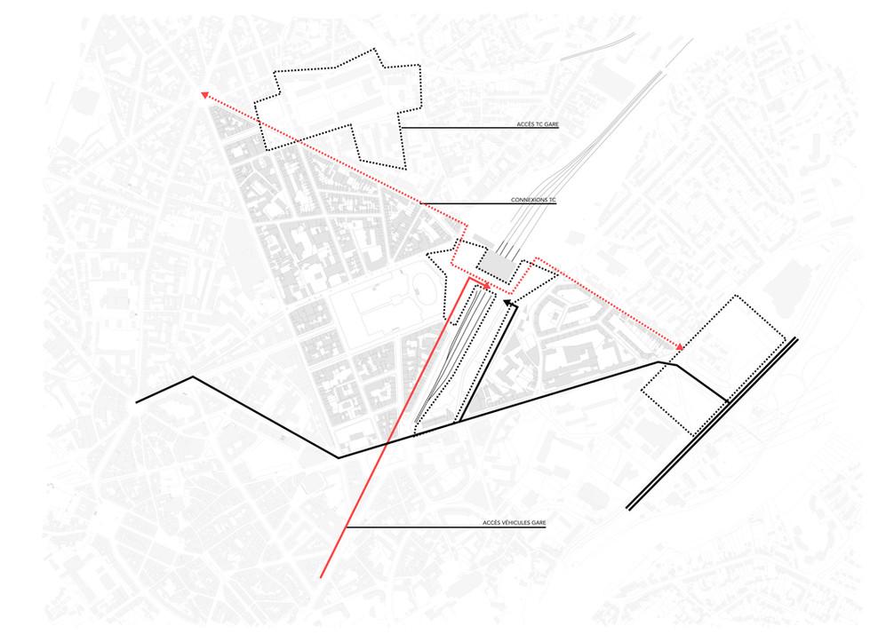 Connecter les zones d'intervention par tous les modes de déplacement au départ de la gare: Il nous faut relier par des connexions en TC efficaces, maîtriser et faciliter l'accès véhicules aux nouvelles zones de développement et favoriser les cheminements piétons au départ du Parvis de la Gare.