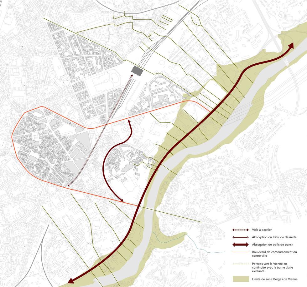 Orientations générales d'aménagement,  - Utiliser les Berges de Vienne comme une réserve pour le trafic routier afin de permettre le réaménagement du centre-ville en utilisant leur capacité à absorber dans une première phase les flux périphériques. Cela implique:- la maîtrise du trafic sur l'avenue des Casseaux afin d'alléger la pression automobile sur le centre-ville, puis faire évoluer cet axe dans le sens d'une configuration de boulevard urbain ; - l'aménagement d'un pôle de régulation des TC sur le site des Casseaux au service de l'efficacité du pôle d'échanges gare - Préparer la mutation de cet espace pour une ouverture à terme de la ville vers la Vienne. Pour cela il est nécessaire de : - requalifier les sites industriels obsolètes en bord de Vienne, - identifier les berges de Vienne en tant qu'espace naturel proche du centre-ville. - ouvrir la ville vers la Vienne en maillant les ouvertures est/ouest qui descendent vers les berges dans la continuité des tracés urbains existants.