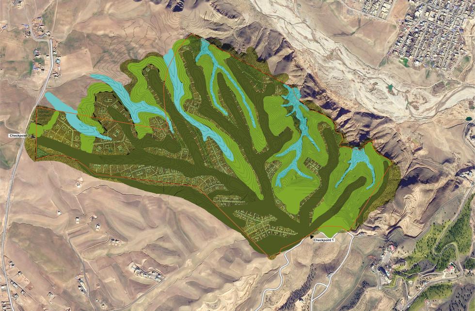 Plan guide et logique paysagère, et bassins de retention d'eau