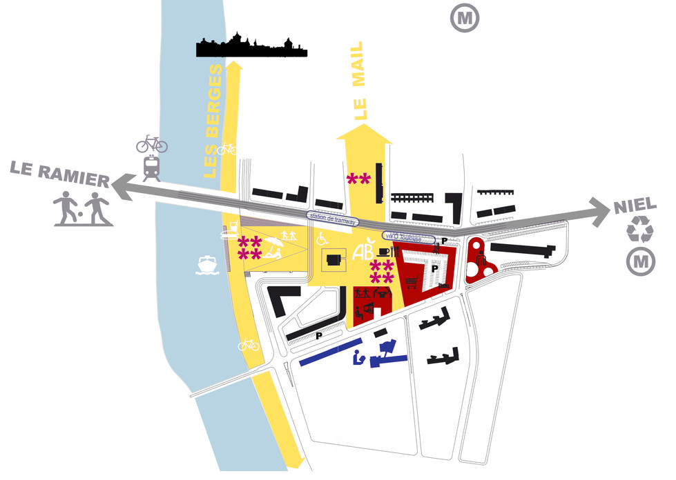 Nouvelle centralité sur une place urbaine