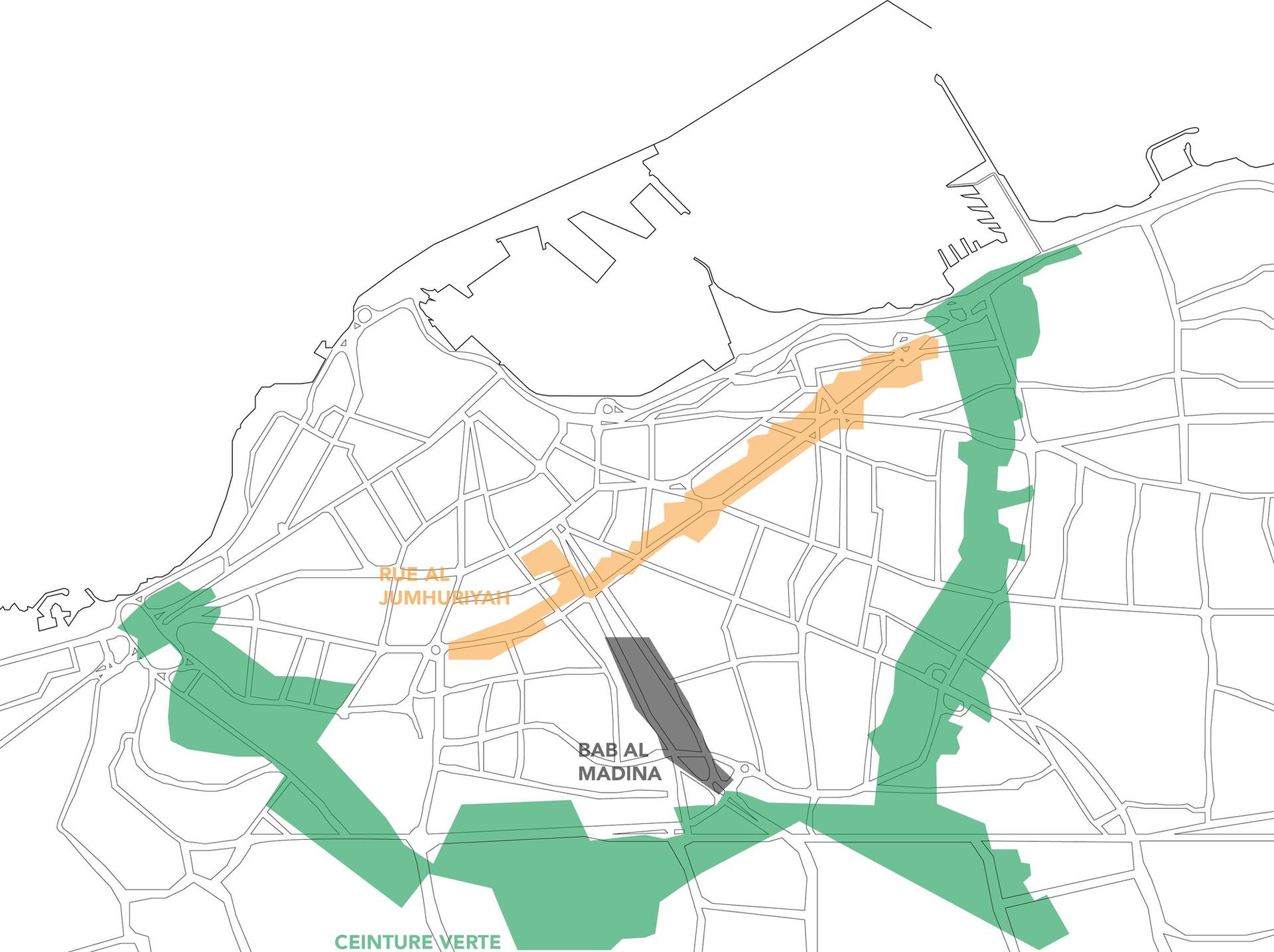 Les trois secteurs: Ceinture verte - Rue commerciale Al Jumhuriyah - Bab Al Madina