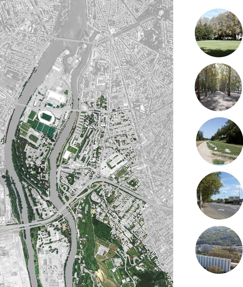 Empalot un lieu entre un paysage urbain et le grand paysage, Le paysage se compose en trois grands axes nord-sud et cinq promenades transversales débouchant en belvédère sur le fleuve, avec la création d'une place inspirée celle de la Daurade. Au plan de l'armature végétale, le projet prévoit un alignement d'arbres tout au long de cette trame, ainsi que sur les quais, les berges bénéficiant d'un traitement particulier propice à la détente.