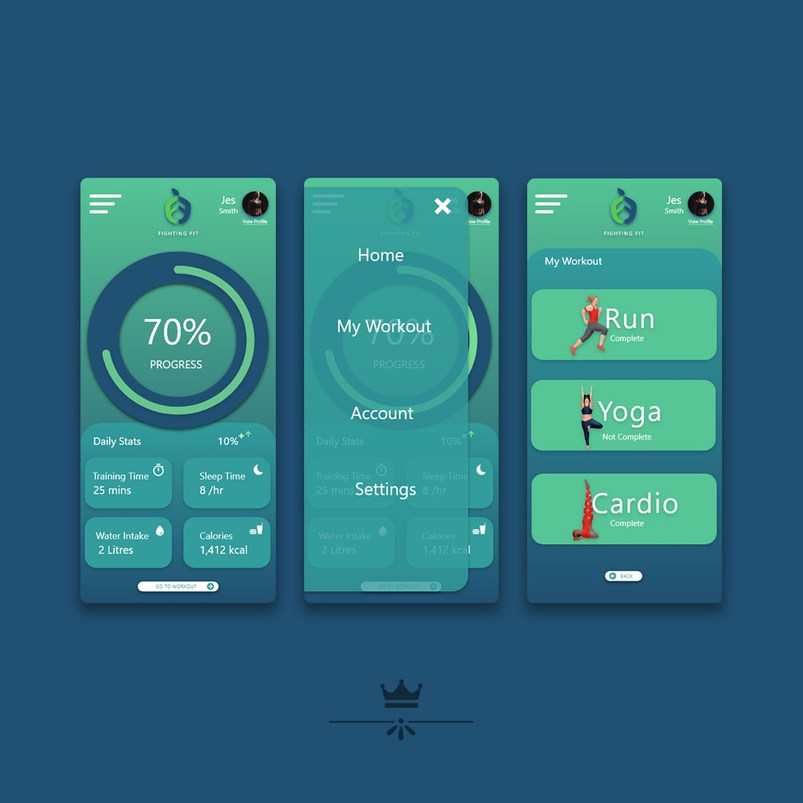 Fighting Fit App design