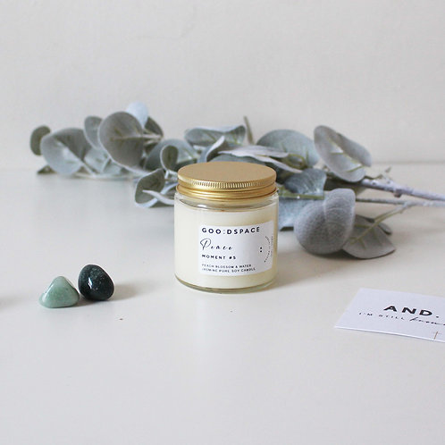 AND I'M STILL. SOY AROMATHERAPY CANDLE - BREATHE, CALM, LOVE, PEACE, BRAVE 120ML
