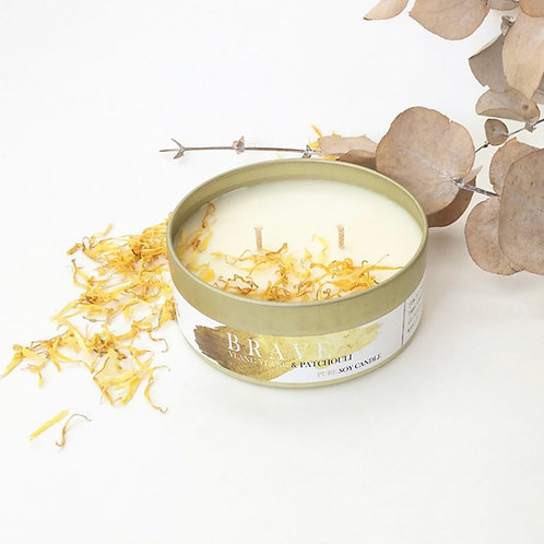 JUST A GOLD MOMENT - YLANG YLANG & PATCHOULI BRAVE PURE SOY CANDLE, 200ML