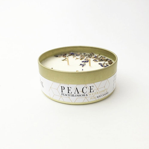 JUST A GOLD MOMENT - PEACH BLOSSOM & WATER JASMINE PEACE PURE SOY CANDLE 200ML