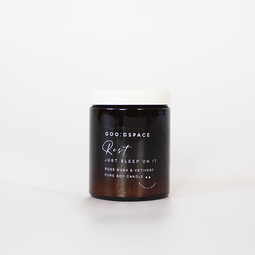 REST... ROSE MUSK & VETIVERT GOO:DSPACE SOY CANDLE
